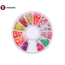 Nail Art Decoration 3D Polymer Clay Fruit Cane Slice Wheel Nail Art DIY Doll House Minis Manicure Tips Design Decoration Sticker