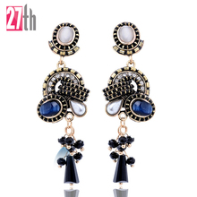 Blue White Cat Eyes Rhinestone Decoration Circle Stud Earrings Long Chain Pendant Stud Earrings for Women Christmas Gift On Sale
