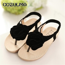 COZULMA Summer Girls Sandals Kids Princess Flower Dress Shoes Children Flat With Elastic Band Beach Sandals Girls Flip Flops