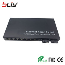 lan switch 10 port 10/100/1000Mbps Gigabit Ethernet Fiber Optical Media Converter Single Mode 8 RJ45 UTP and 2 SC fiber Port(China)