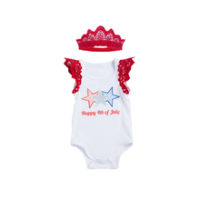 Baby Girls Summer Clothing Set Infant July 4th Patriotic Bodysuit+Headband 2pcs Girl Clothes Girls Boutique Outfits With Wings