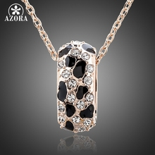 AZORA Rose Gold Color Leopard Animal Pattern with Magnetic Healing Stone Pendant Necklace TN0090