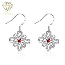 Buy Earrings Online Romantic Silver Plated Hollow Flower Inlaid Red Zircon Earring Fashion Jewelry for Women Wedding Party(China)