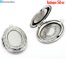 Doreen Box Lovely Antique Silver Oval Photo Frame Locket Pendants 34x24mm, sold per packet of 5 (B15912)(China)
