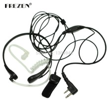 F Plug Throat Mic Microphone Covert Acoustic Tube FBI Earpiece Headset with Finger PTT 2-pin for Icom Maxon Yaesu Vertex Radio