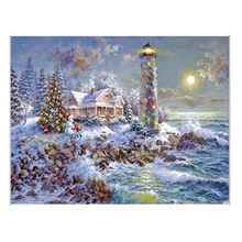 5d point drill diamond paintings christmas lighthouse pasted diamond painting cross stitch mosaic embroidery home decor z