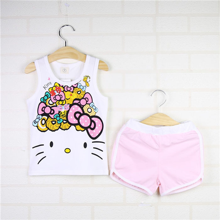 Summer Childrens Cartoon hello kitty Baby Girls Sets floral print set+shorts suit children suit childrens clothes<br><br>Aliexpress