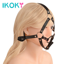 Buy IKOKY Metal Ring Open Mouth Gag Sex Toys Couple Full Head Harness Slave PU Leather Bondage Restraint SM Adult Games