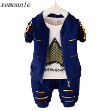 Children Boys Girls Garment Clothes 2017 Autumn Kids Jacket And T-shirt And Pants 3 Pcs Suits Baby Fashion Brand Clothing Sets(China)