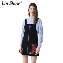 Fashion Autumn Flower Embroidered Suede Women's Dresses Sleeveless Black Sexy Lady Dress 2017 New Casual Women(China)