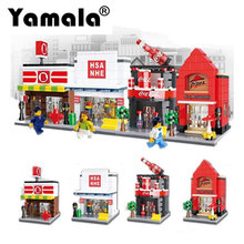 [Yamala] 4pcs Lot Mini Street View Building Block 24 Hours Ok Convenience Store Compatible With Legoingl City Toys Gifts For Kid