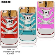 New Hot Novelty Canvas Sneakers Shoes Design Silicone Case For iPhone 6 Plus 6s Plus Transparent Clear TPU Cell Phone Cases(China)