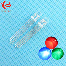5mm LED Transparent Multicolor 4pin Common Cathode RGB Light Emitting Diode Lamp Bead Tricolor Round Package Plug-in  10pcs/lot
