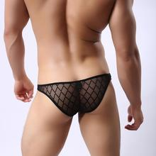 Good Quality Brand Men's Hollow Breathable Underwear Men Sexy Fashion Transparent Mesh Briefs Shorts Net Underwear Bikini Briefs