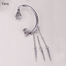Skull skeleton hand left ear cuff earrings ear clip for women W/ crystal SC61 biker hiphop jewelry wholesale dropshipping(China)