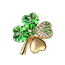 new hotsales factory Wholesales Gold Color Austrian Crystal four leaf clover Brooch women accessories fashion jewelry 9554