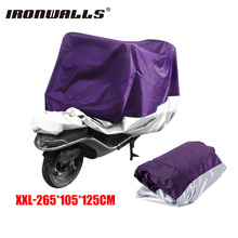 Ironwalls XXL Motorcycle Waterproof Cover Outdoor Purple Silver Protector For Honda Shadow 750 Harley Sportster Kawasaki Scooter