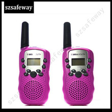 Band new T388 walkie talkie 2pcs red idea for girls 0.5W UHF For Kid Children LCD Display with Flashlight Travel Two Way Radio(China)