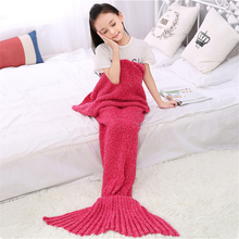 Buy U-miss Mermaid Tail Knitted Kids Blanket Crochet Warm Crochet Mermaid Blanket Kids Throw Bed Wrap Super Soft Sleeping Bed for $30.19 in AliExpress store