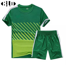 Men Soccer Set Sports Training Clothes Team Uniforms T Shirts & Shorts Football Uniform Custom Sport Suit Game Number XXXXL(China)