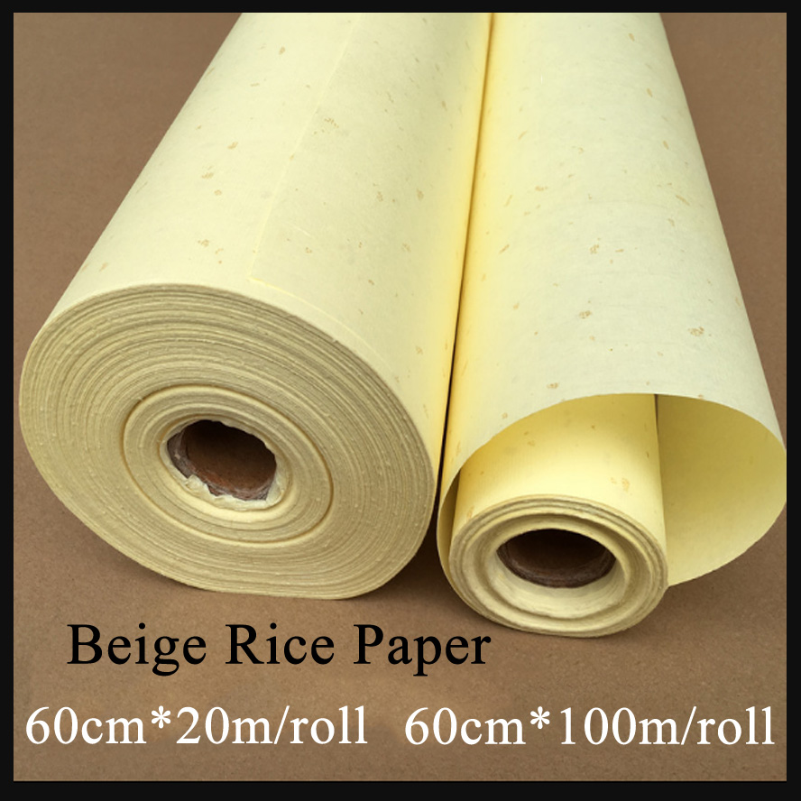 60cm Beige Raw Paper Chinese Painting Calligraphy Rice Paper Roll Xuan Paper Painting Canva Supply <br>
