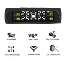 Smart Car TPMS Tire Pressure Monitoring System Solar Powered Digital LCD Display Auto Security Alarm Systems Tyre Pressure New(China)
