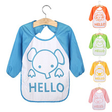 Baby Bibs Cartoon Translucent Plastic Soft Kids Children Waterproof Bib Long Sleeve Waterproof Feeding Infant Aprons baberos(China)