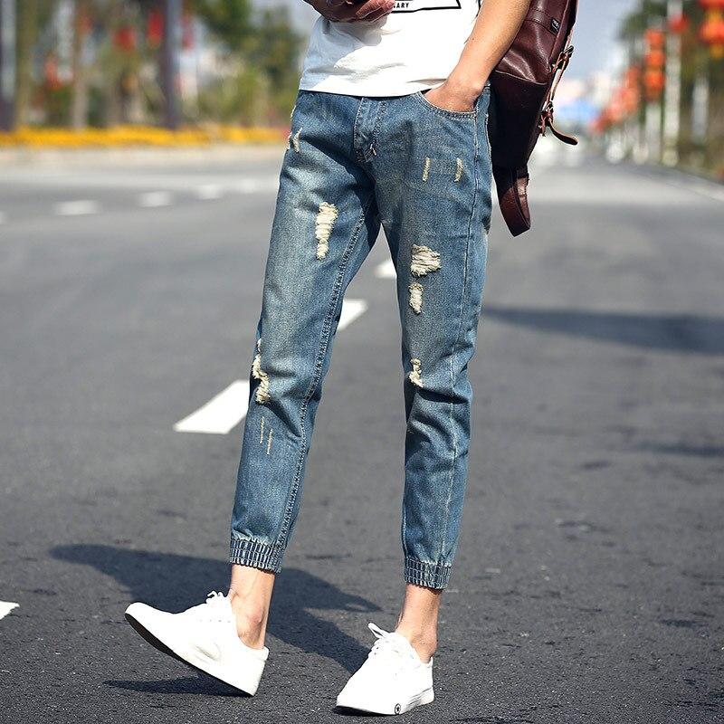 Ripped Denim Joggers Men Tide Pants Slim Stretch Mens Biker Jeans Brand Men Balmaied jeans Washed Vintage Male Jeans,EDA420Одежда и ак�е��уары<br><br><br>Aliexpress