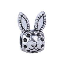 Charm European Silver Cute Rabbit Head Bead DIY NEW Wholesale 1Pc Fashion Style Alloy Bead Fit Pandora BIAGI Bracelets & Bangles(China)