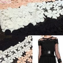 Retail!!!3 yards/lot Novelty DIY lace Fabric Width 11.5cm white Water soluble lace /clothing materials lace Accessories 173261(China)