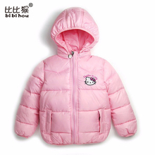 winter jacket for Girl hello kitty Winter Warm Children jacket Outwear boy Coats Long Sleeve rabbit Hooded Cotton Baby Kids Coat