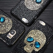 Cool 3D DIY Diamond Blue Eye Skull Phone Cases For iPhone 8 7 6 6s Plus 5 5s SE Case For Samsung galaxy S8 Plus S6 S7 edge Cover(China)