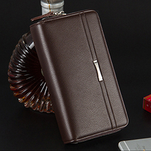 Baellerry 2017 new Men Leather Bags Wrist Clutch Business Handbag long Wallet Male Organizer Vintage Brown Checkbook coin Purse