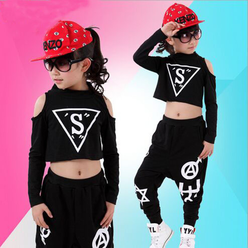 New Children Sets Girl Boy Black Jazz Hip Hop Modern Dancewear Set Kid Dance Costume Short Sleeve Top &amp; Pants Fit 4-12Y<br><br>Aliexpress