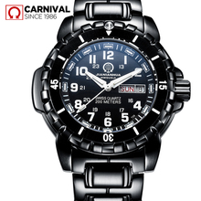 2017 Promotion Sale New Carnival Watch Male Luminous Outdoor Military Stainless Steel Sports Waterproof Double Calendar Quartz(China)