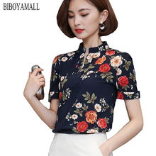 BIBOYAMALL Women Blouses 2017 Casual Elegant OL Chiffon Blouse Short Sleeve Work Wear Blusas Tops Shirts Plus size XXXL Black
