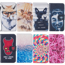 Bad Dog Fox Rose Flower Painted Leather Cover sFor Fundas iPhone 6s 6 6Plus 6s Plus Phone Cases Flip Wallet Coque Phone Bag(China)