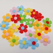 Mix Flower Shape Patches 30MM 100pcs/lot padded felt appliques hair/hat decorative ornament