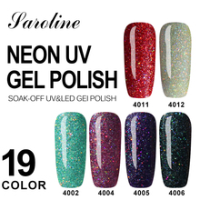 Saroline Neon Nail Gel Polish Soak Off Semi-permanent UV Colorful Nail Gel Rainbow Lacquer Long-lasting Base Top Gel Varnish(China)