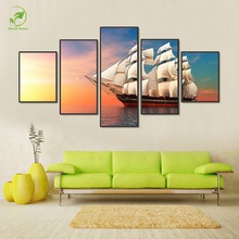 Luxury Sailboat Canvas Oil Painting 5pcs Sailing Boat Landscape Framed Prints Wall Art Paint Seascape Ship Poster Room Picture