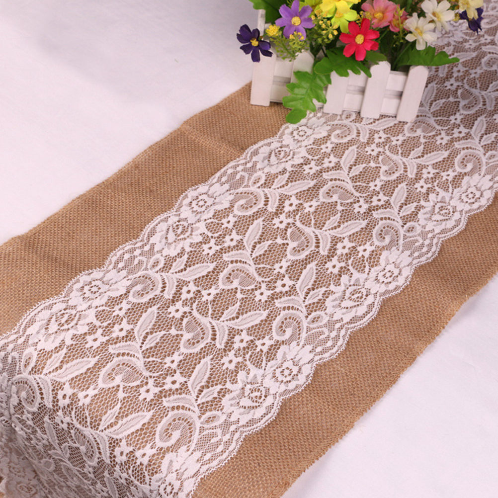 108*30cm Lace Burlap Table Runner Natural Burlap Jute Hessian Table Runner Cloth  Lace Vintage Wedding Party Decor