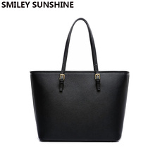 Luxury Brand Women Messenger Bag Shoulder Big Women Tote Top-handle Bags Black Women Leather Handbag sac a main femme de marque(China)