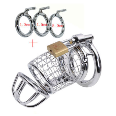 A set of three rings Chastity lock Stainless Steel Reticular Chastity Device Cock Cage Penis Lock <br>
