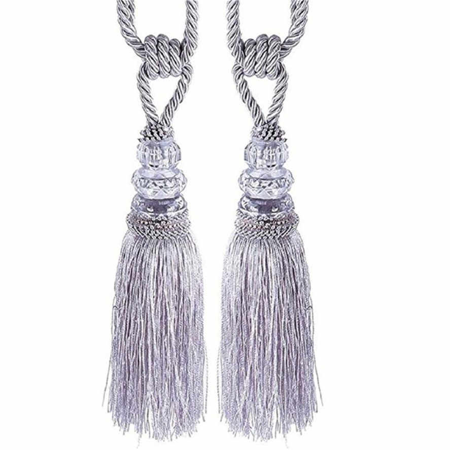 New Curtain Tiebacks 2PC Crystal Beaded Tassels Tieback Curtain Cord Home Textiles Window Treatments Home Decoration Accessories