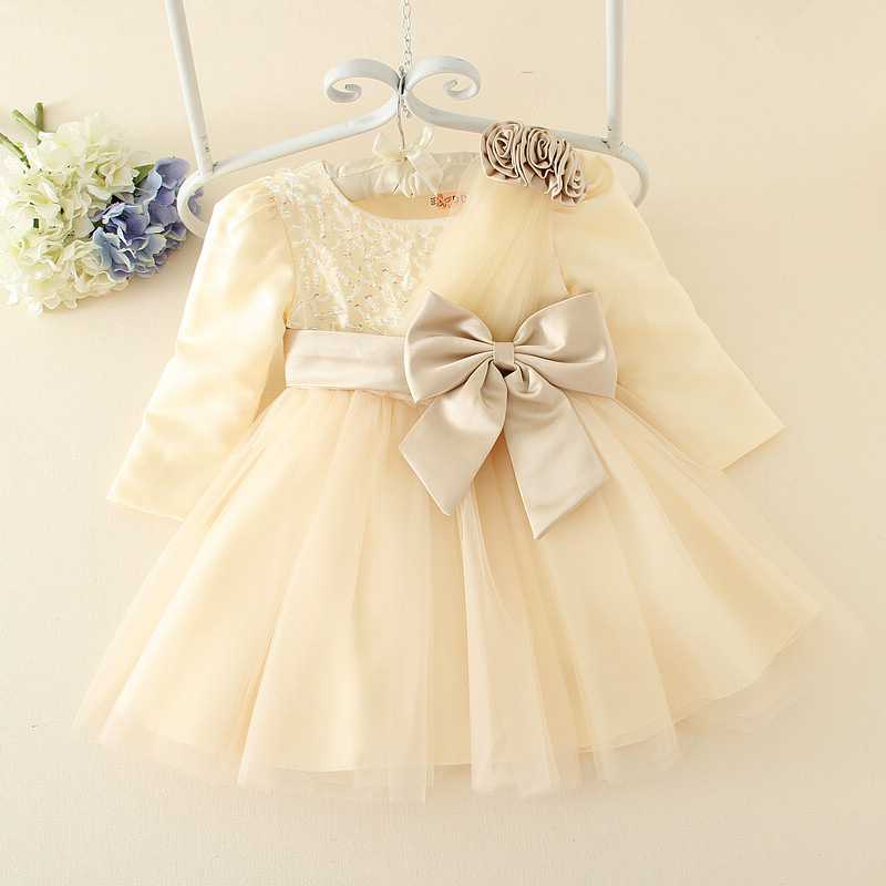 new 2016 spring bow children party dress cute long sleeve girls princess wedding dresses suit 2~10age infants flower girls dress<br>