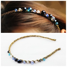 Korean Colorful Glitter Rhinestone Crystal Headband and Hair Clip Cute Women Girls Fascinator Hair Accessories Headbands 2pcs/L