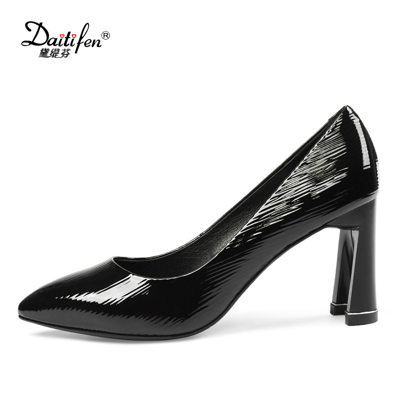 Daitifen New Arrival Genuine leather women shoes Shallow U-style high heel Solid lady Dress shoes Sexy Slip-on Pumps zapatos<br>