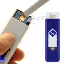 2017 High Quality USB Electronic Cigar Cigarette No flame Lighter Rechargeable Battery Flameless No Gas/Fuel Lighter New