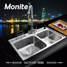 80x50x21cm Stainless Steel Kitchen Sink Vessel Faucet Set Double Bowl Kitchen Sink Undermount Kitchen Washing Vanity(China)