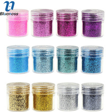 Blueness 12 Bottle/Set Nail Art Dust Powder 1Box 10g Sequins Glitter Nail Acrylic UV Gel Polish Glitter Nail CA001(China)